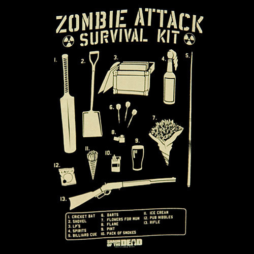 Shaun of the Dead wallpaper possibly with a sign called Zombie Attack Survival Kit
