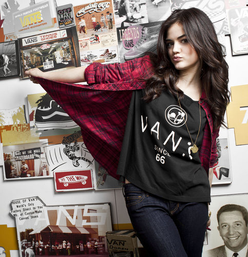Lucy Hale wallpaper possibly with an outerwear, a hood, and a box coat titled Lucy Hale Vans Girl Photoshoot