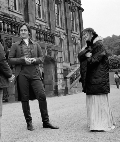 Pride and Prejudice wallpaper with a street, a business suit, and a green beret titled Matthew & Keira BTS {PP 2005}