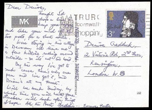 Postcard from Freddie Mercury, 1971.