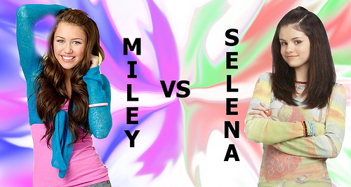 Miley Cyrus vs. Selena Gomez karatasi la kupamba ukuta containing a portrait titled miley cyrus vs selena gomez
