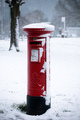 English Post Box In The Snow