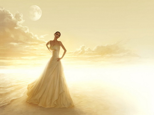 Daydreaming wallpaper probably with a gown, a dinner dress, and a bridal gown entitled Fantasy Girl