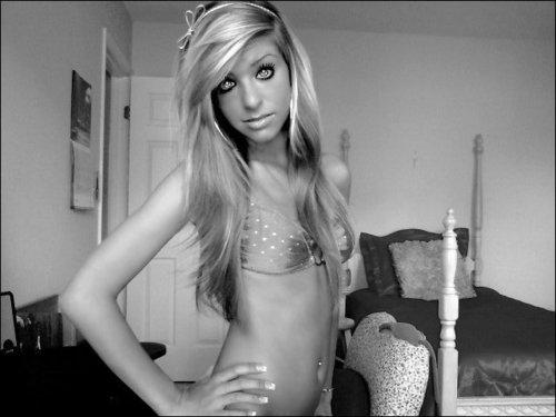 Me in my bra black & white pic <3