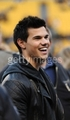Taylor Lautner at the Steelers Game on January 15th - twilight-series photo