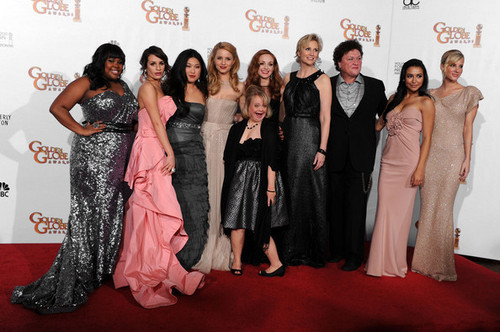 Glee wallpaper with a bridesmaid and a dinner dress called The Cast @ 68th Annual Golden Globe Awards