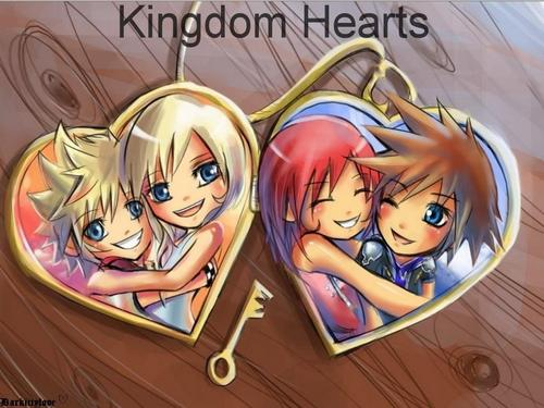 Kingdom Hearts wallpaper probably with anime titled soraxkairi and naminexroxas locket
