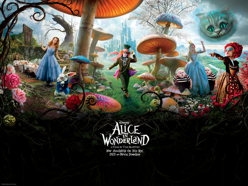 Tim burton achtergrond possibly containing anime entitled Alice in Wonderland achtergrond