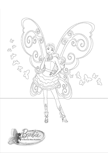 Barbie Movies wallpaper possibly containing a fleur de lis called Barbie A Fairy secret- coloring page
