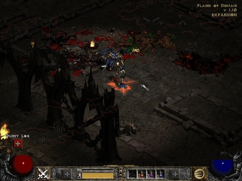Diablo wallpaper with a fire and a street called Diablo 2 LOD screenshot