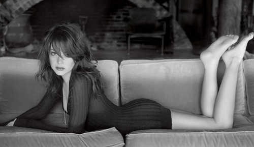 Emma Stone wallpaper containing a couch, a living room, and a sofa called Emma Stone