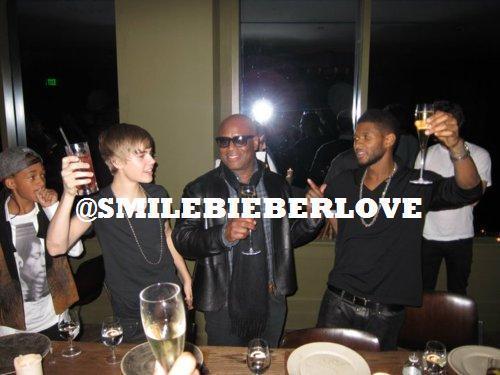 Justin Bieber drinking