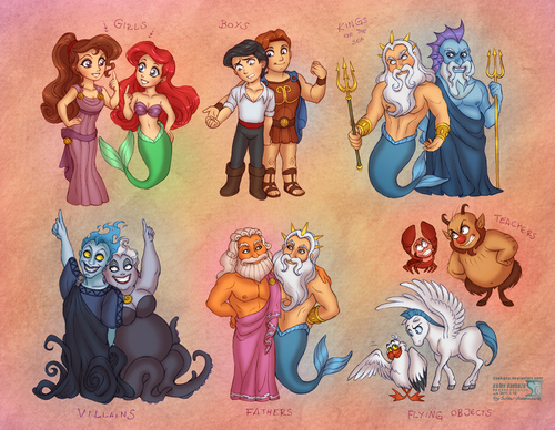 Walt Disney fan Art - The Little Mermaid vs Hercules