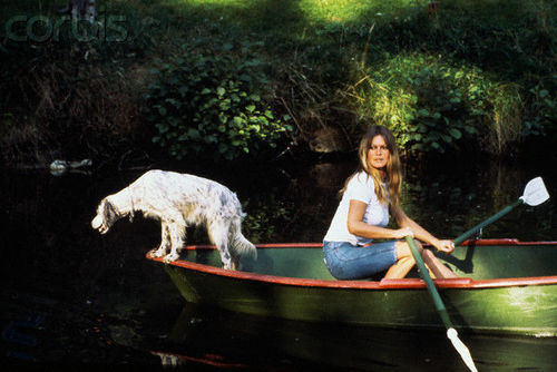 Brigitte Bardot karatasi la kupamba ukuta probably with an english setter, mwongozaji titled Lovely BB