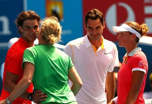 Nadal kisses Kim ,Federer laugh Rafa