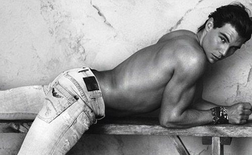 Sexy pose: Nadal appears confident and shirtless in the sexy shot