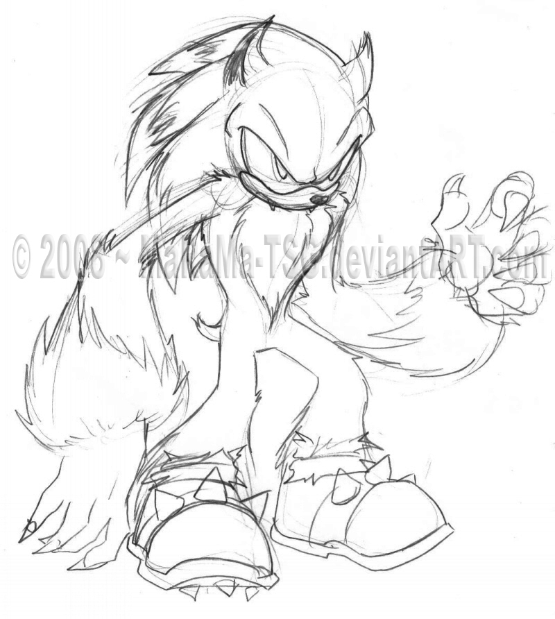 sonic the werehog coloring pages - werehog sonic