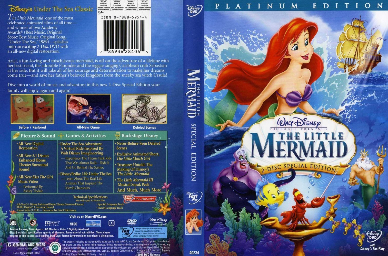 The Little Mermaid 2 Dics Platium Edition DVD Cover
