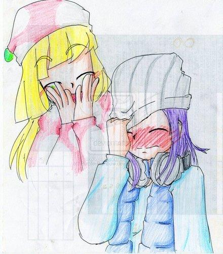 blushing giggle