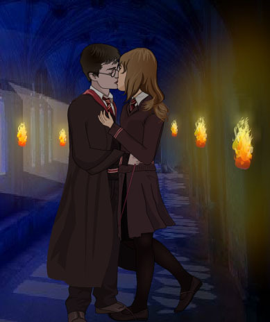 Harry and Hermione wallpaper probably with a business suit and a well dressed person titled game kiss