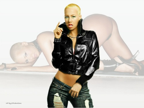 Amber Rose in Black Leather