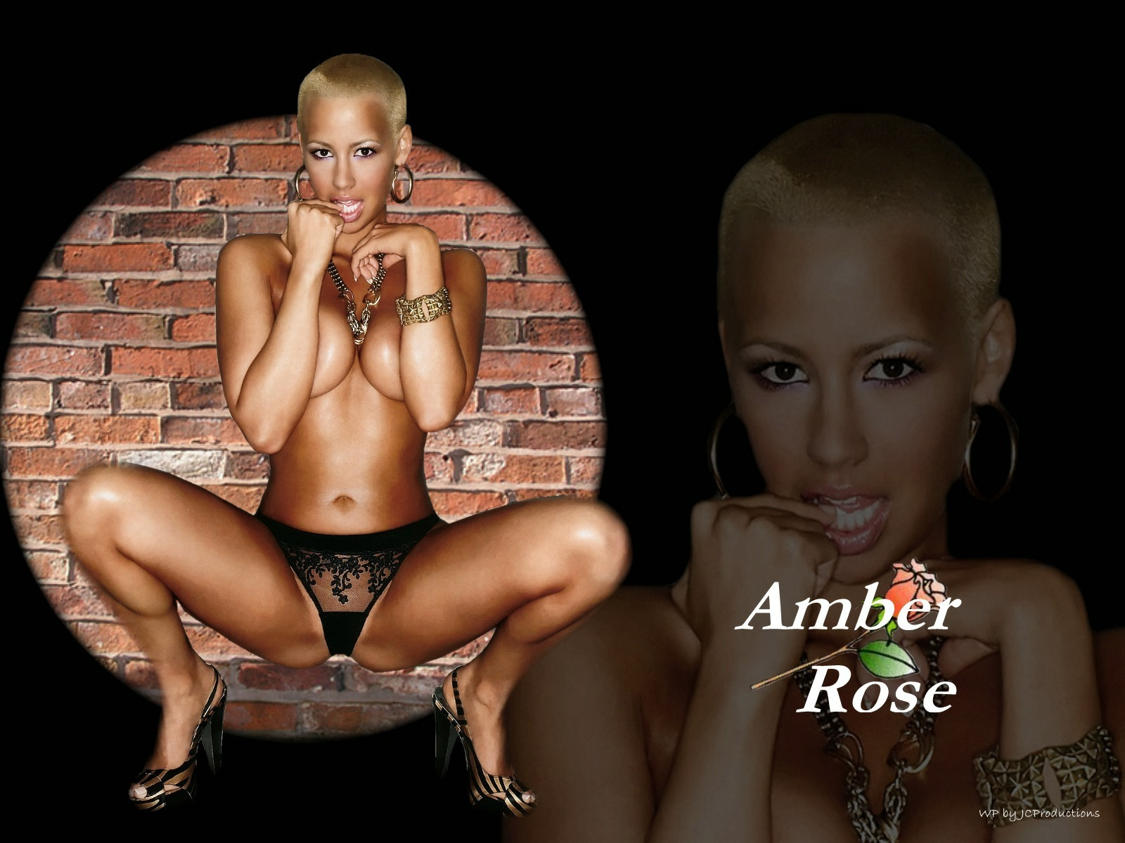 Amber Rose with her back up against the wall