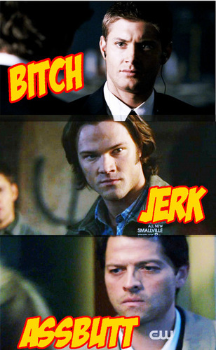 Castiel wallpaper with anime titled Bitch, Jerk, ASSBUTT!