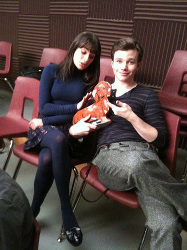Chris and Lea on set