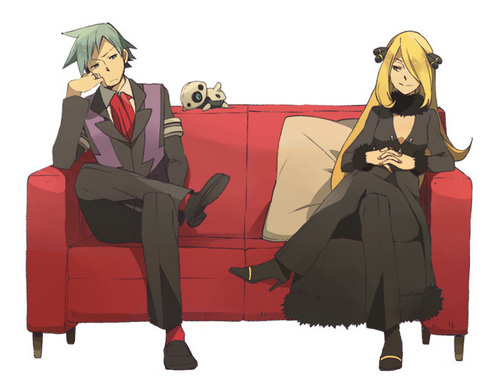 Pokémon wallpaper probably with a surcoat and a well dressed person called Cynthia and Steven