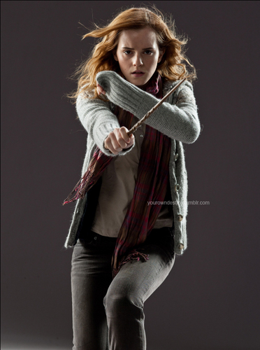 Hermione Granger wallpaper possibly containing a stole, long trousers, and an outerwear titled Deathly Hallows