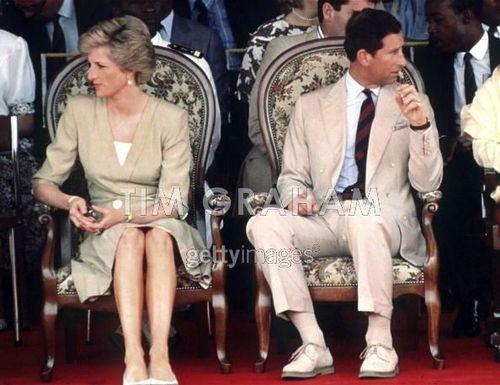 Diana Princess of Wales watch a dancing display