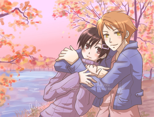 Ouran High School Host Club karatasi la kupamba ukuta containing anime titled Haruhi and Hikaru hug