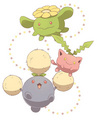 Hoppip, Skiploom, and Jumpluff~ - pokemon fan art