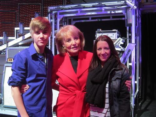 Justin & his mom with Barbara Walters