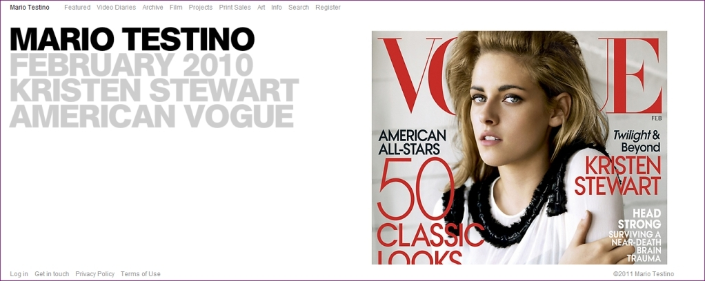 Kristen Stewart on the Front Page of Fashion Photographer Mario Testino's Official Site
