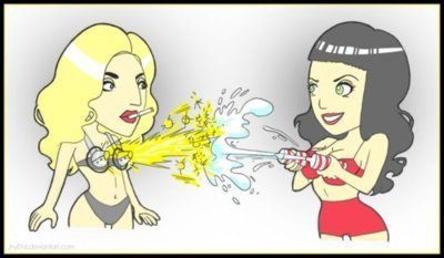Lady Gaga wallpaper with anime titled Lady Gaga vs. Katy Perry