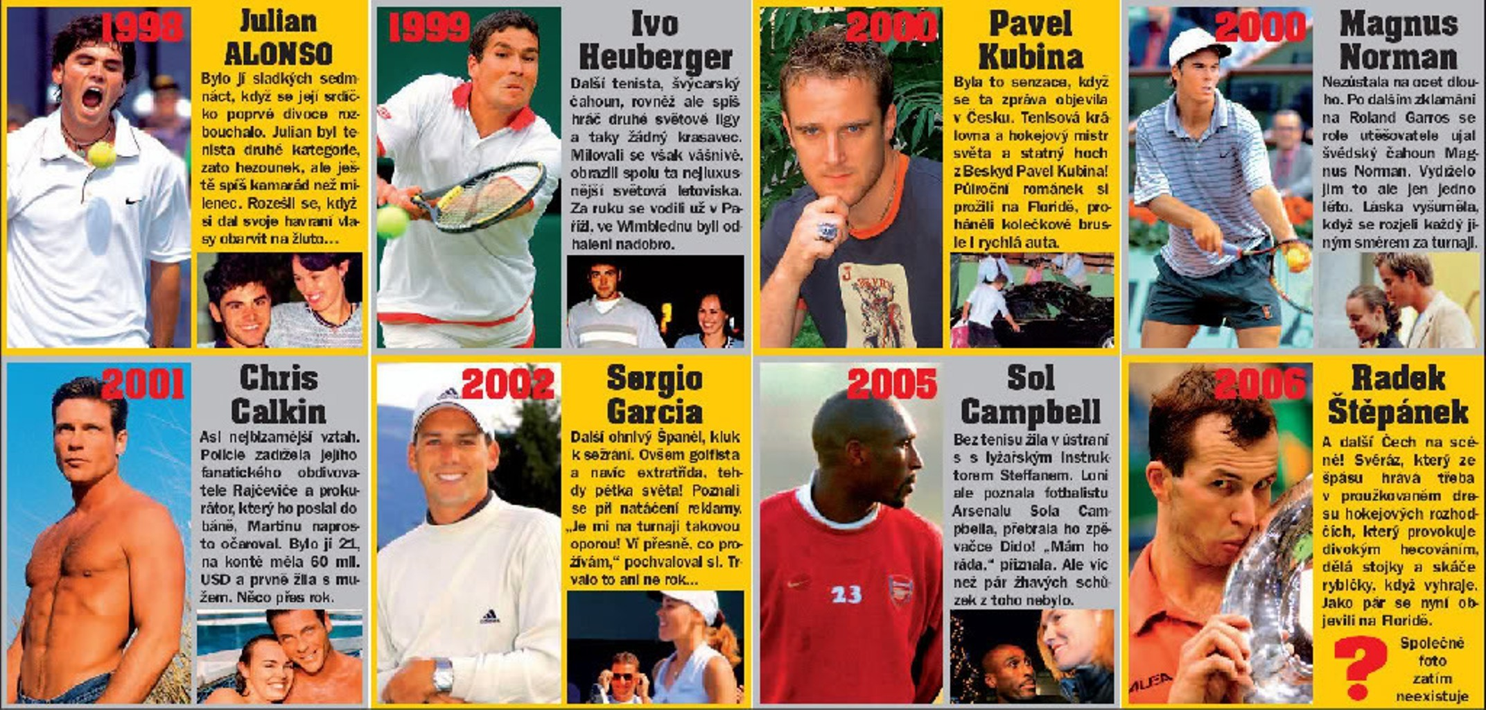 Martina Hingis and her boyfriends 1998-2006 During 8 years she had 8 innamorati