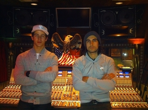 Nick Jonas and Greg Garbosky Warking Hard In #beatlab on January 24, 2011
