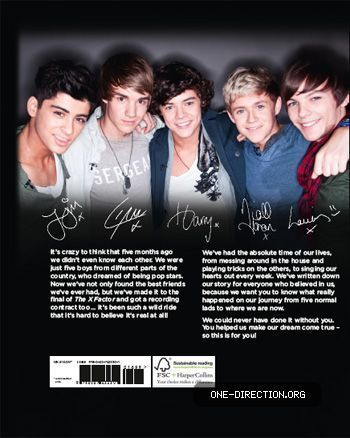 One Direction wallpaper possibly with a portrait entitled One Direction's story (Back cover with signatures!!!!!)