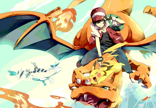 Red's riding Charizard