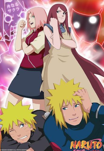 Naruto Shippuuden fond d'écran with animé entitled Sakura-Kushina-Naruto-Minato