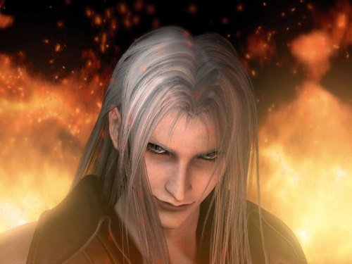 Sephiroth in Final Fantasy VII Advent Children movie in the intro where he is surrounded سے طرف کی flames.