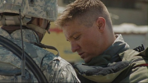 Jeremy Renner wallpaper with a green beret, a rifleman, and a navy seal called The Hurt Locker