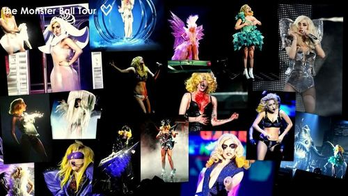 Lady Gaga karatasi la kupamba ukuta possibly containing anime entitled The Monster Ball Tour