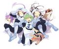 Touya, N, and Touko dressed as Team Plasma