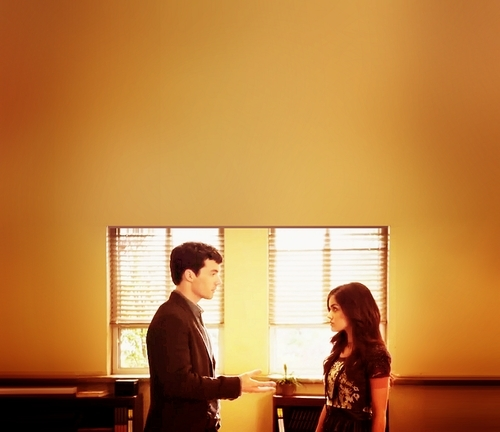 Ezra & Aria wallpaper probably with a living room and a morning room entitled ezra and aria<333