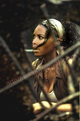 aaliyah on the set of Matrix movie