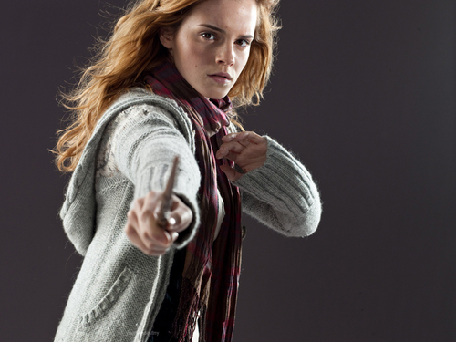 Hermione Granger wallpaper probably containing an outerwear, long trousers, and a box coat entitled DH Promo Pics