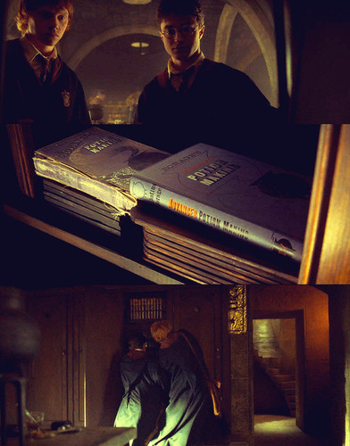 Ron & Harry fighting over a potions book :))