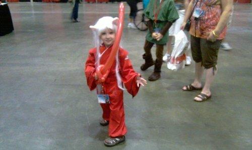 Little Inuyasha and his inflatable Tetsuaiga